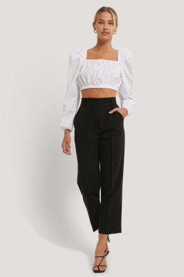 NA-KD Reborn Gerecycleerd Cropped Pantalon Met Hoge Taille - Black