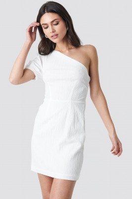 NA-KD Party NA-KD Party One Shoulder Puff Sleeve Mini Dress - White