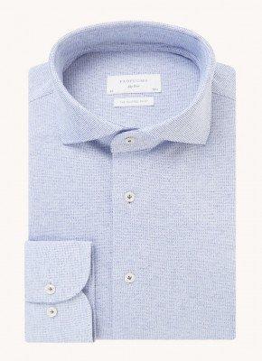 Profuomo Profuomo Knitted slim fit overhemd met cut away kraag