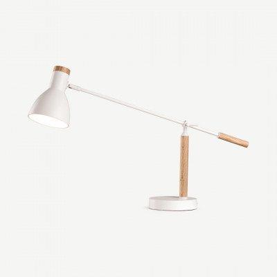 MADE.COM Cohen tafellamp, wit en naturel eikenhout