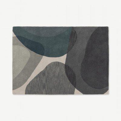 MADE.COM Holt groot wollen vloerkleed, 160 x 230 cm, grijs en groenblauw