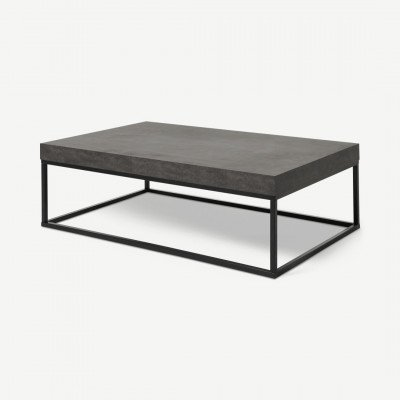 MADE.COM Odom salontafel, betoneffect en zwart staal