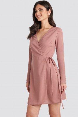 NA-KD Overlap Dress - Pink
