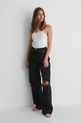NA-KD Reborn NA-KD Reborn Organisch Versleten Jeans Met Wijde Pijpen - Black