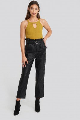 NA-KD Trend Tied Waist Pu Pants - Black