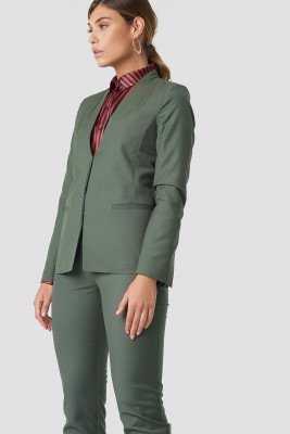 NA-KD Classic Collarless Blazer - Green