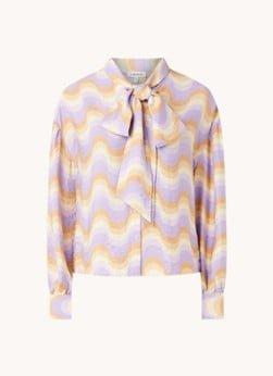 EDITED EDITED Patricia blouse met print en strikkraag