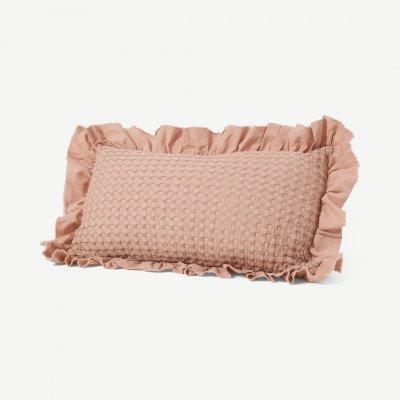 MADE.COM Lozen kussen van 100% biologisch katoen, 30 x 50 cm, plamuurroze