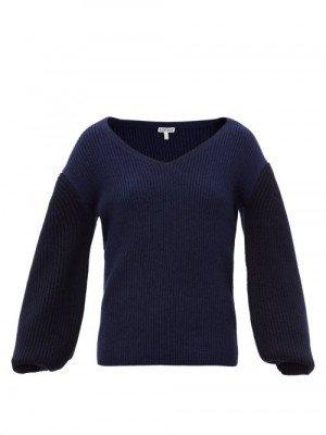 Matchesfashion Loewe - Balloon-sleeve Sweater - Womens - Blue