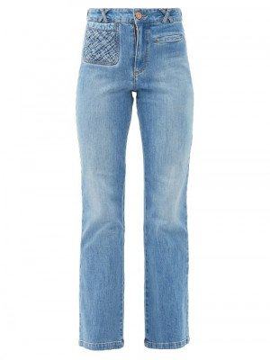 See By Chloé - Braided-pocket Kick-flare Jeans - Womens - Denim