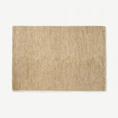 MADE.COM Mumbi vloerkleed van wol en jute, extra groot, 200 x 300 cm, lichtbeige