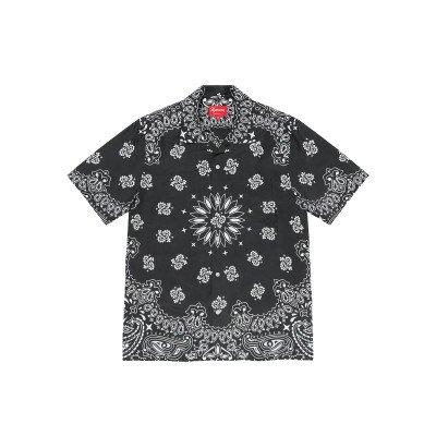 Supreme Supreme Bandana Silk S/S Shirt Black (SS21)