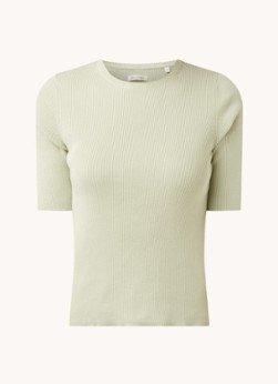 Marc O'Polo Marc O'Polo Ribgebreid T-shirt van biologisch katoen