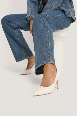 NA-KD Shoes Quilted Pointy Pumps - White