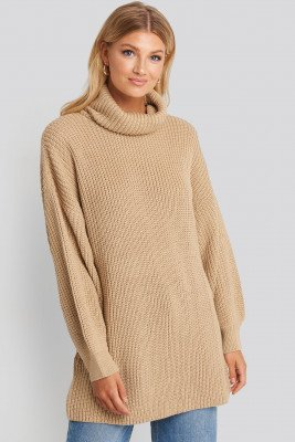 NA-KD Oversized High Neck Long Knitted sweater - Beige