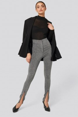 NA-KD Party NA-KD Party Front Seam High Waist Lurex Leggings - Silver