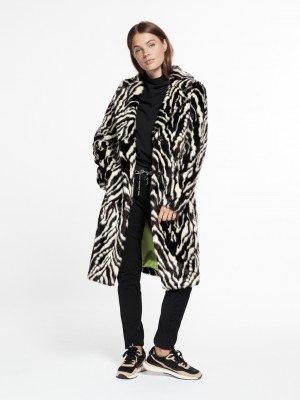 Beaumont Beaumont Zebra fur coat Black