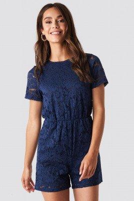 NA-KD Boho NA-KD Boho Elastic Waist Lace Playsuit - Blue