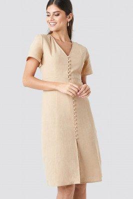 NA-KD Boho Button Front Linen-blend Dress - Beige