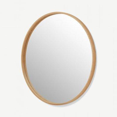 MADE.COM Wilson ronde spiegel, extra groot, 100 cm, eiken