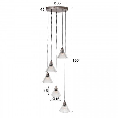 LifestyleFurn Hanglamp 'Sigourney' 5-lamps