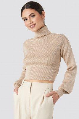 NA-KD NA-KD Balloon Sleeve High Neck Short Sweater - Beige