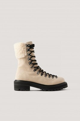 NA-KD Shoes NA-KD Shoes Trekking Laarzen Met Teddydetail - Beige