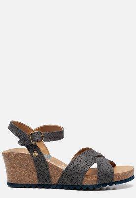 Panama Jack Panama Jack Vika Roses B5 sandalen met sleehak blauw