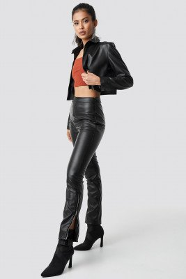 Hannalicious x NA-KD Hannalicious x NA-KD Zip Detailed Faux Leather Pants - Black