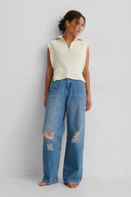 NA-KD Reborn NA-KD Reborn Organisch Versleten Jeans Met Wijde Pijpen - Blue