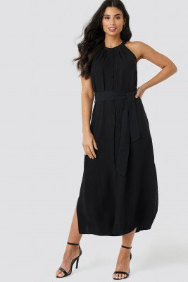 Trendyol Trendyol Binding Detail Midi Dress - Black