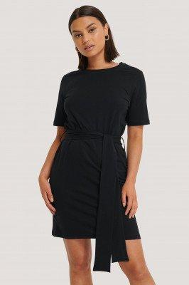 NA-KD NA-KD Tie Waist T-shirt Dress - Black