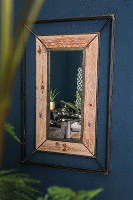 Firawonen.nl PTMD mylou zwart spiegel metaal + houten frame