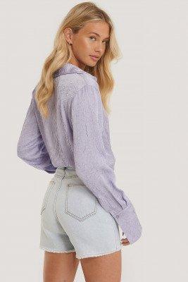 Trendyol Gerafelde Denim Shorts - Blue
