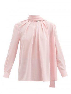 Matchesfashion Alexander Mcqueen - Scarf-neck Silk-crepe Blouse - Womens - Light Pink