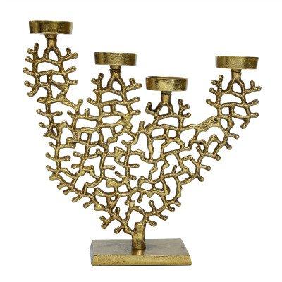 Firawonen.nl PTMD Baily Gold aluminium koraal meervoudige kandelaar