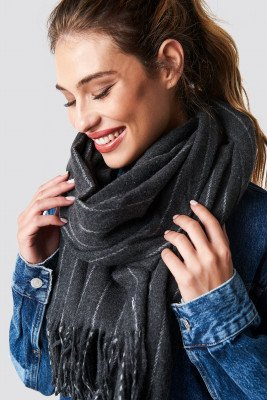 NA-KD Accessories NA-KD Accessories Woven Pinstripe Scarf - Grey