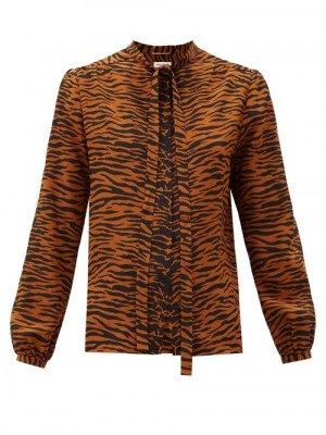 Matchesfashion Saint Laurent - Pussy-bow Tiger-print Silk Blouse - Womens - Animal