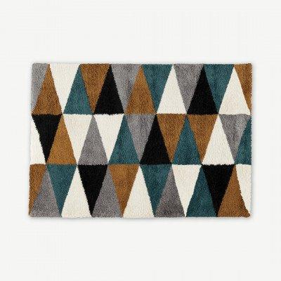 MADE.COM Estelle hoogpolig vloerkleed, 160 x 230 cm, mosterdgeel en donkerturkoois