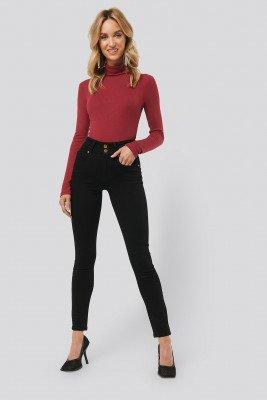 Monica Geuze x NA-KD Monica Geuze x NA-KD High Waist Slim Fit Jeans - Black
