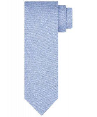 Profuomo Profuomo heren blauwe print linnen zijden stropdas