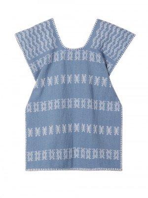 Matchesfashion Pippa Holt Kids - No. 51 Embroidered Kaftan - Womens - Blue White