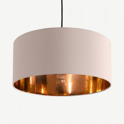 Oro hanglampenkap, lichtroze en koper