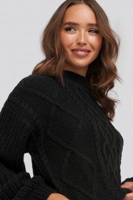 NA-KD NA-KD Cable Knitted Balloon Sleeve Sweater - Black