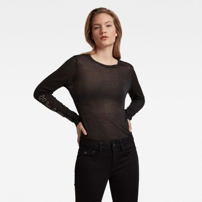 G-Star RAW Sheer Graphic Slim Fit Top - Zwart - Dames