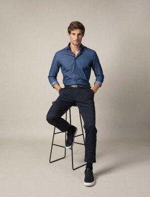 Cavallaro Napoli Cavallaro Napoli Heren Broek - Denimo Overhemd - Donkerblauw