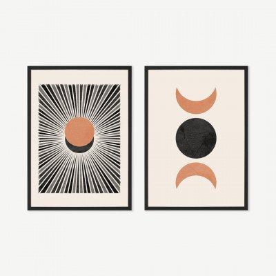 MADE.COM N Minet, 'Sunset Moonrise', set van 2 ingelijste prints, A3