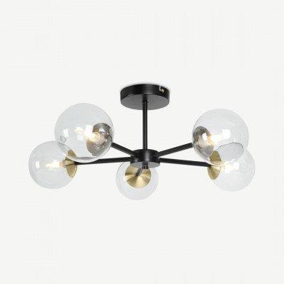 MADE.COM Globe grote hanglamp, zwart, antiek messing en licht rookglas