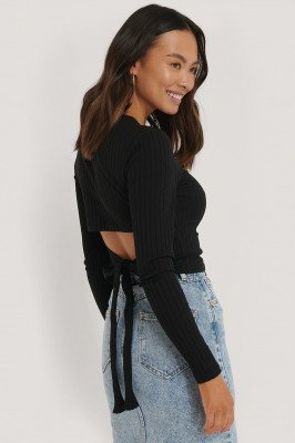 NA-KD Geribde Top Met Open Rug - Black