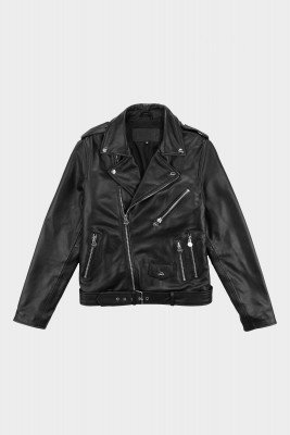 BALR. Leather Biker Jacket Jet